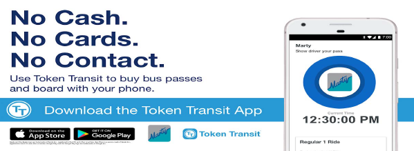 No cash. No cards. No Contact. Use Token Transit to buy bus passes and board with your phone. Download the token Transit App today!