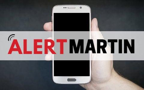 Alert Martin logo and a smartphone