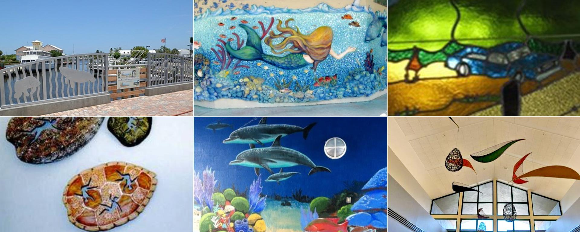 A collage of completed art projects in Martin County