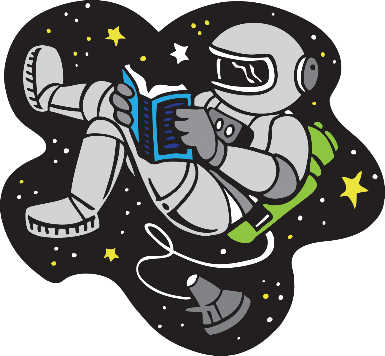Cartoon clip art of astronaut reading while space walking