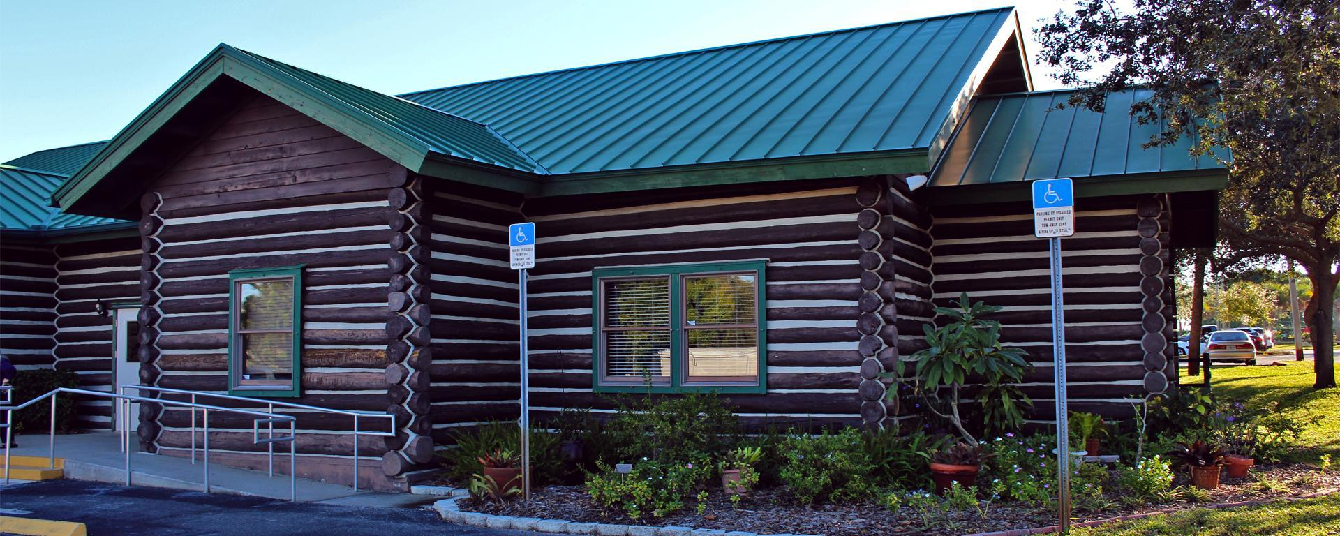 Exterior of the log cabin