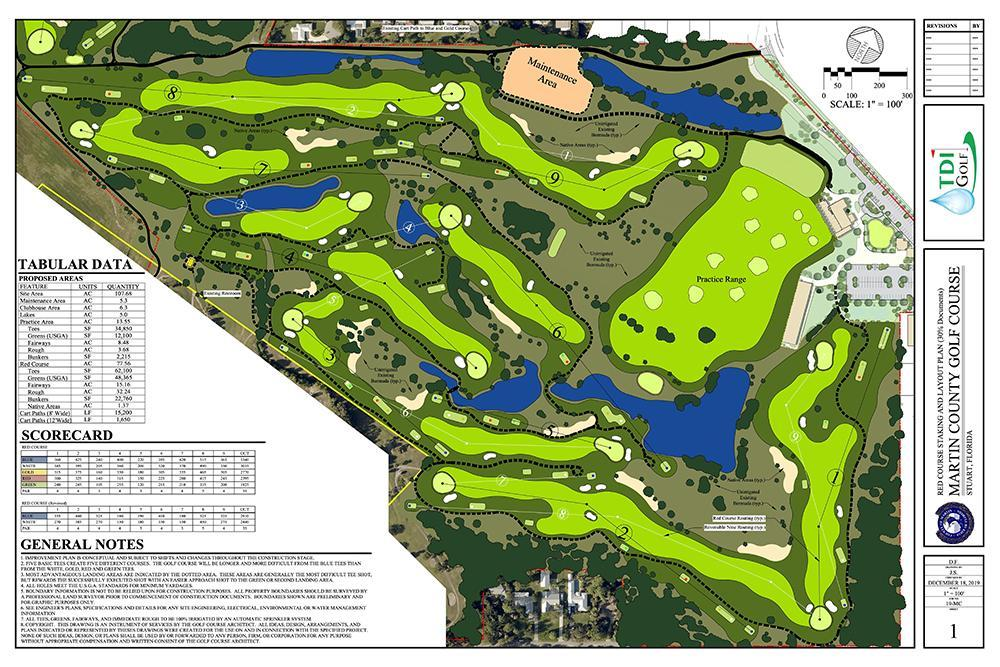 Course rendering of the Martin County Golf Course