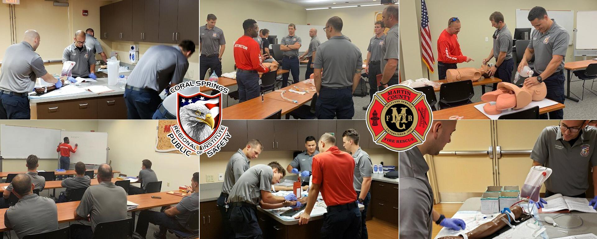 Students participating in EMT and paramedic training classes