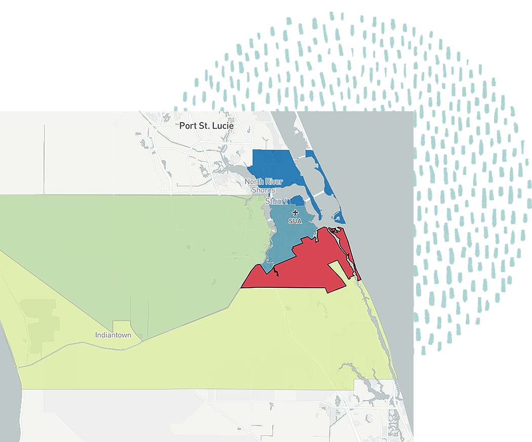 A map of Martin County from the Economic Vulnerability Tool