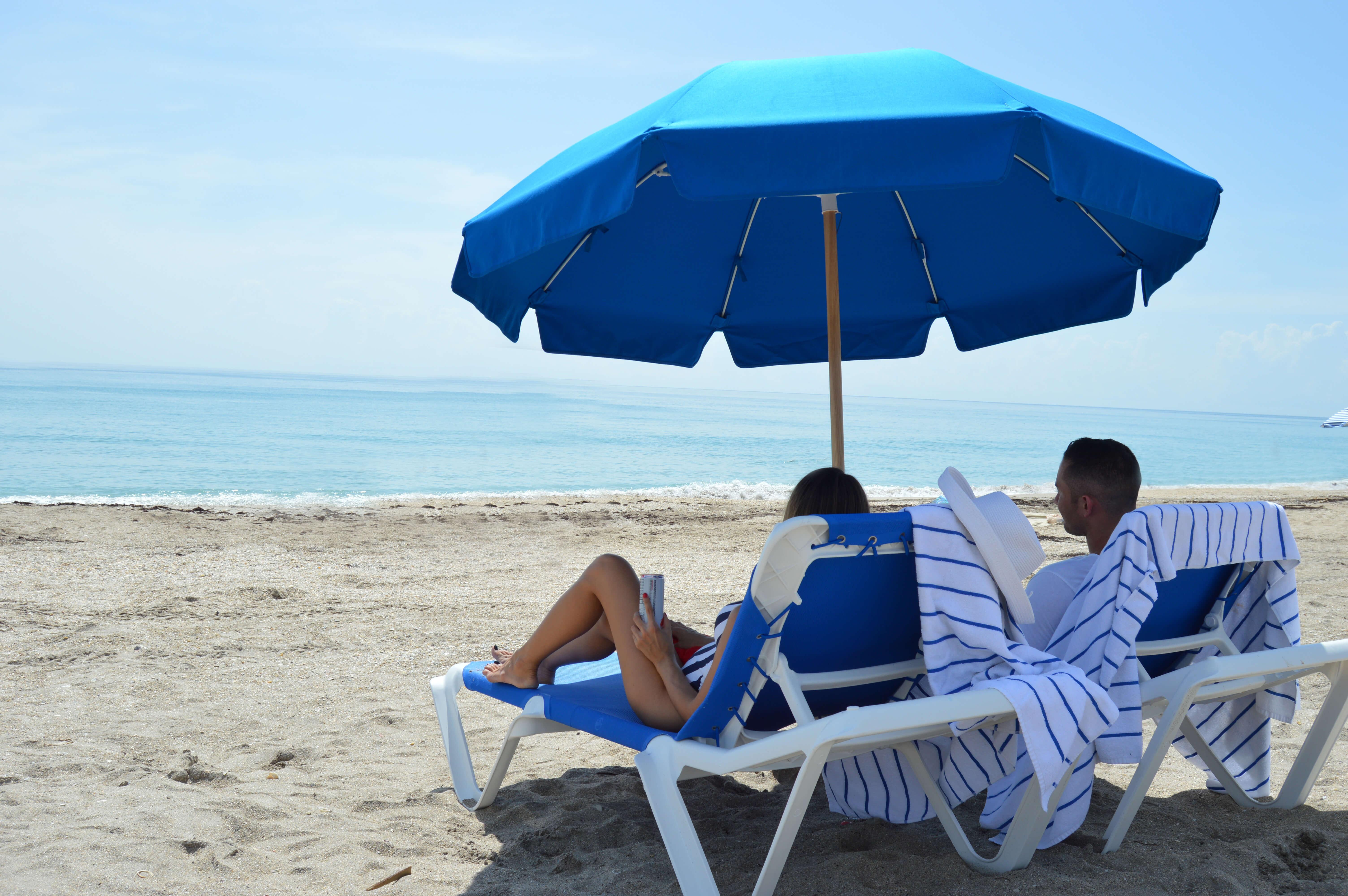 Beach chair and umbrella at Jensen Beach