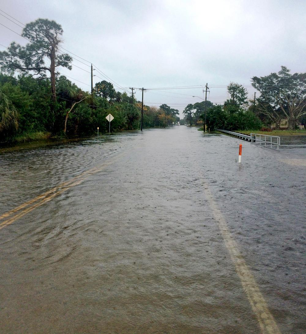 Localized flooding on a roadway