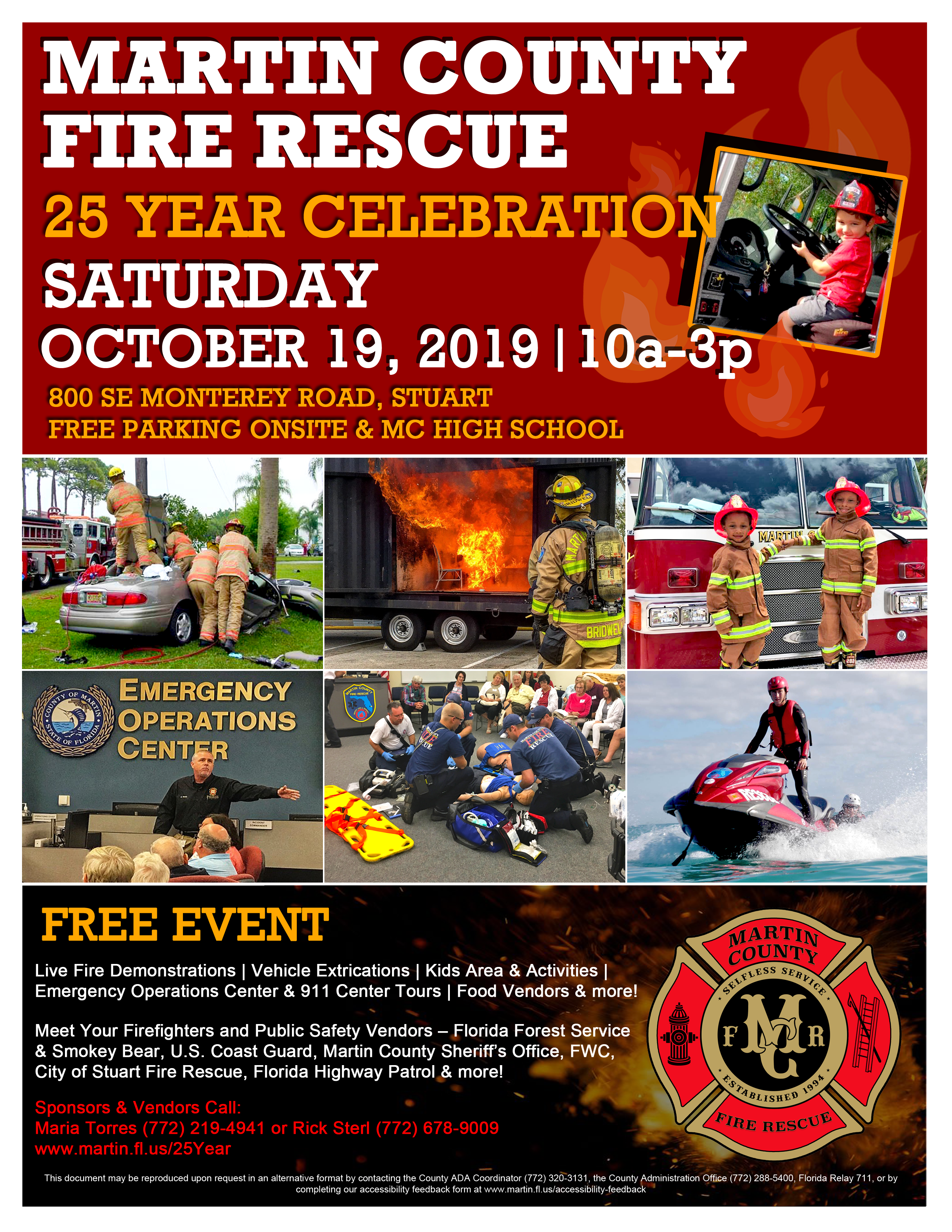 Martin County Fire Rescue 25 Year Celebration Saturday, October 19, 2019 from 10 a.m. to 3 p.m. and includes a collage of firefighter images