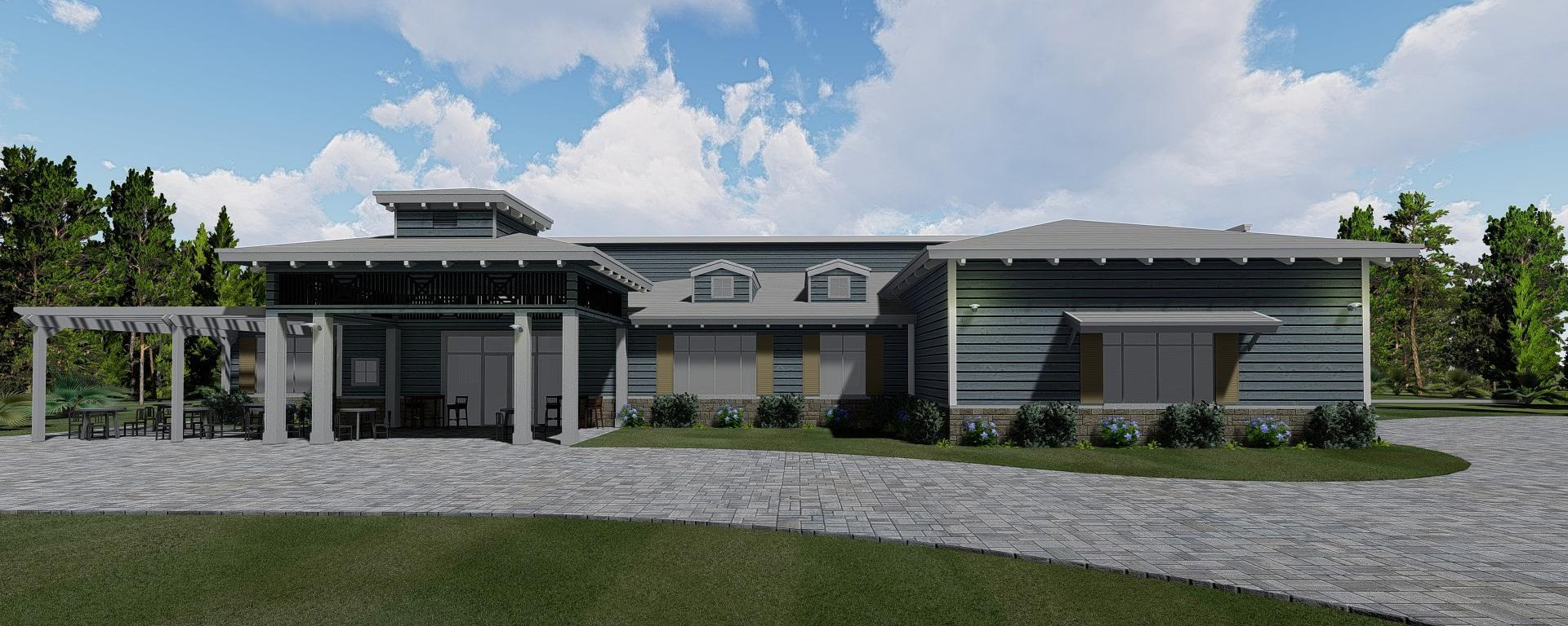 Rendering of the front view of the club house