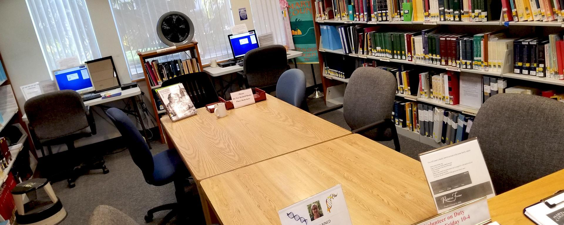 The genealogy room at the Blake Library