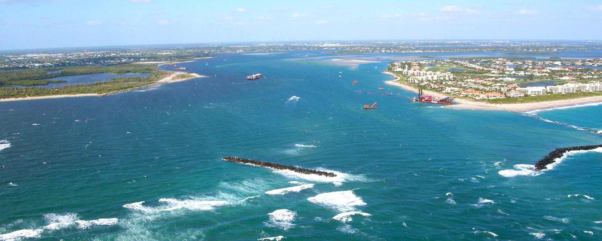 An aerial above the St. Lucie Inlet