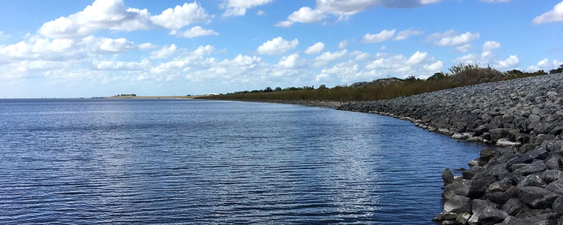 Lake Okeechobee looking north from Structure S-269, photo by the U.S. Army Corps of Engineers