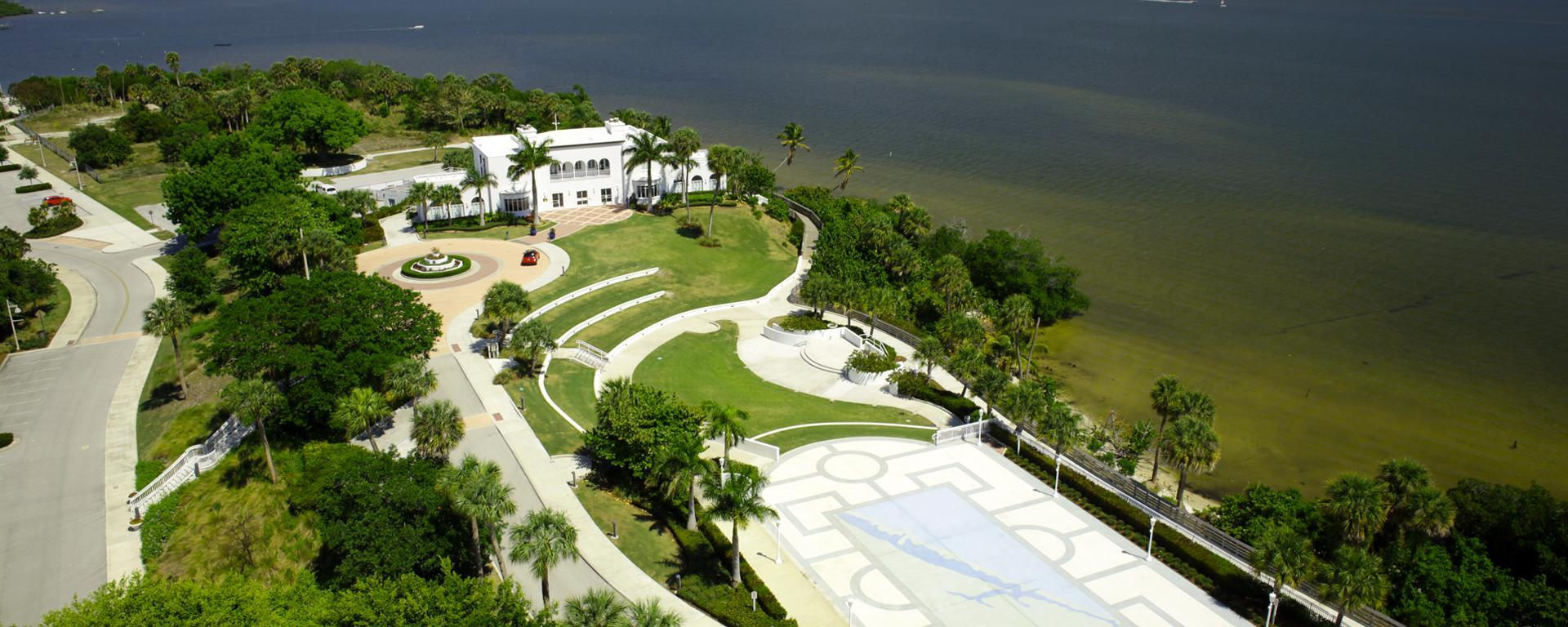 Aerial of the Mansion of Tuckahoe along the St. Lucie River