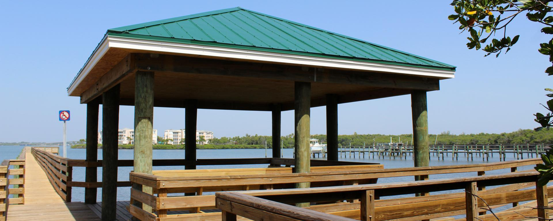 A pavilion at Clifton S. Perry Beach