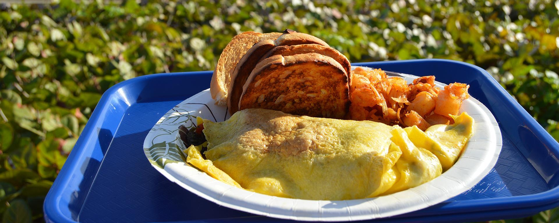 An omelette available for purchase at Sand Dune Cafe