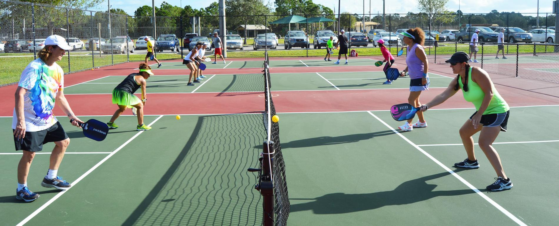 Martin County Senior Games participants playing pickleball.