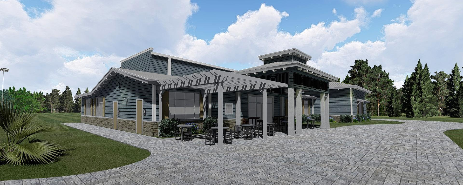 Rendering of the side view of the clubhouse