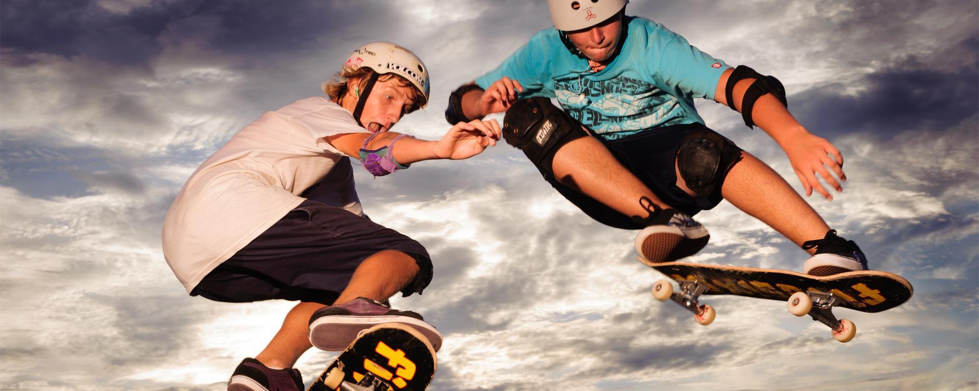 Two boys skating at the Skate Park