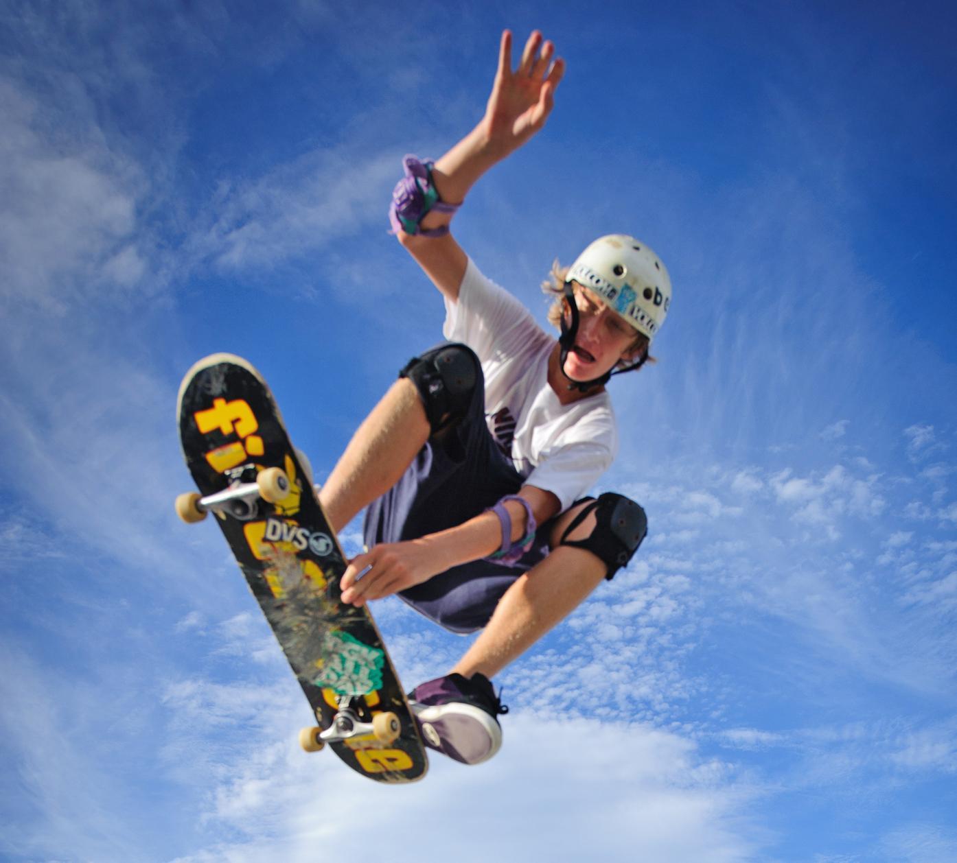 A skater enjoying Pat Mark Rio-Jensen Skate Park.