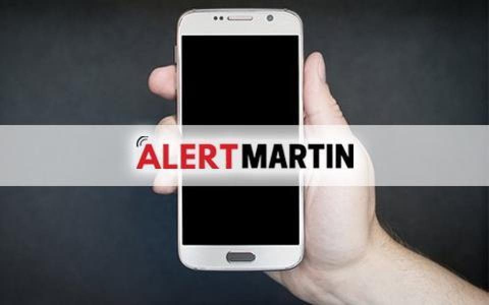 AlertMartin Emergency Notifications on an iPhone