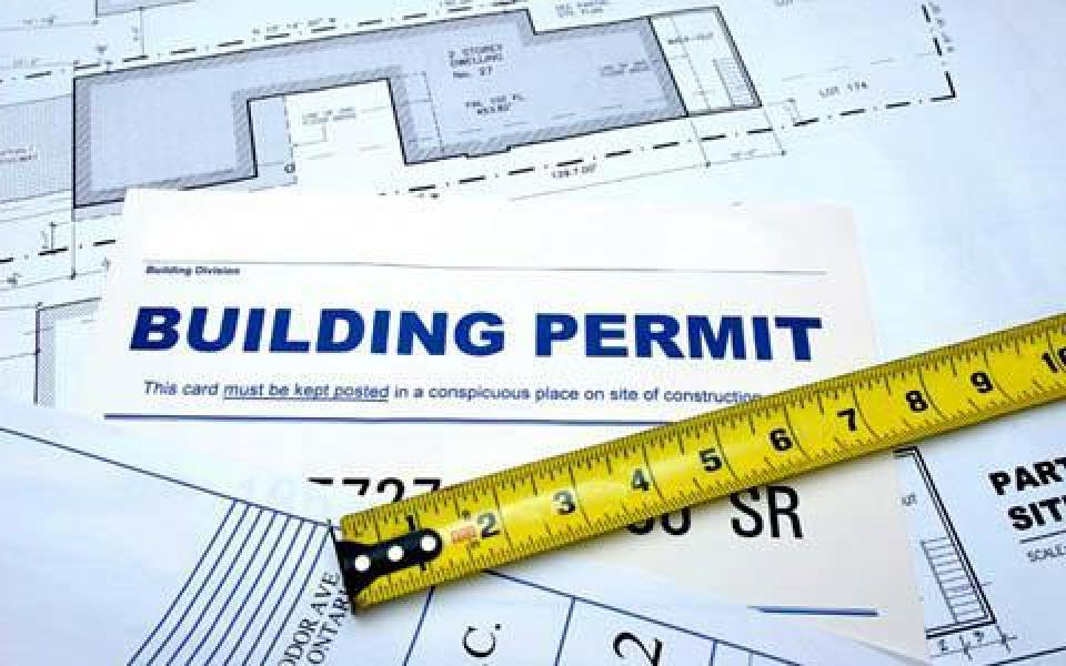 A photo of a building permit