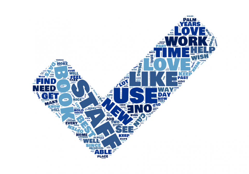 word cloud of previous surveys responses in the shape of a check mark