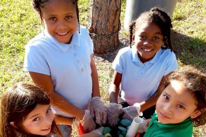 Kids participating in after school program
