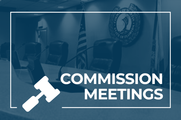 Commission Chambers and text that says Commission Meetings