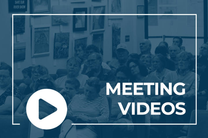 Citizens in the chamber and text that says Meeting Videos