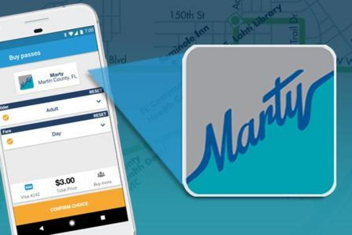 Token Transit app on a smartphone with the MARTY logo