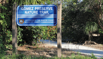 A sign that reads Gomez Preserve nature trail