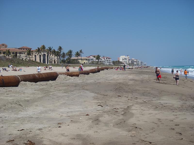 Beachgoers walking along the beach