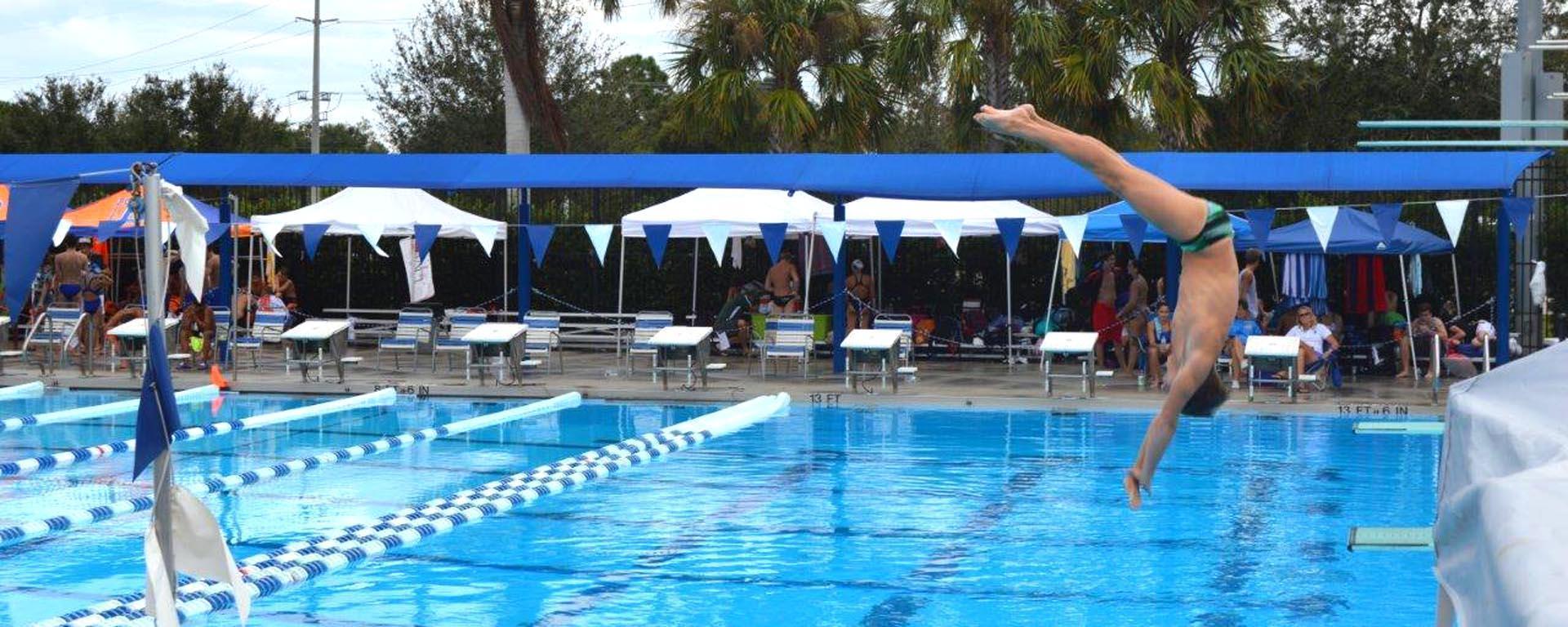 A diver at the Aquatic Center