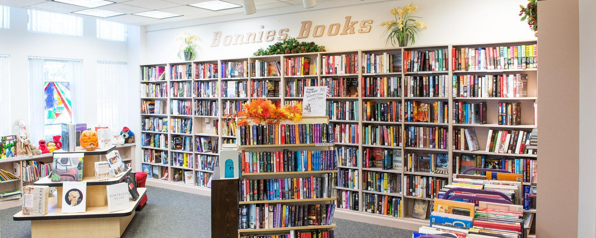 Picture of book shelves at Bonnie's books store