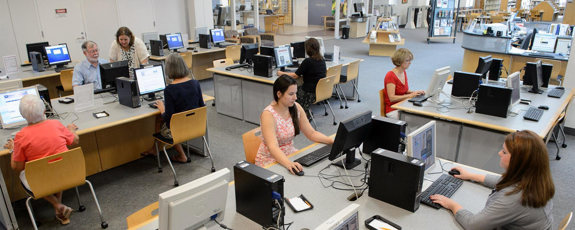 image of the blake library public computer area