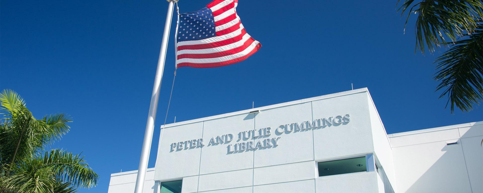 Image of the exterior of the Peter and Julie Cummings Library