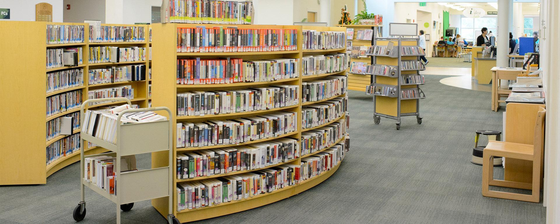 Picture of the audio-visual collection shelved at the Peter and Julie Cummings Library