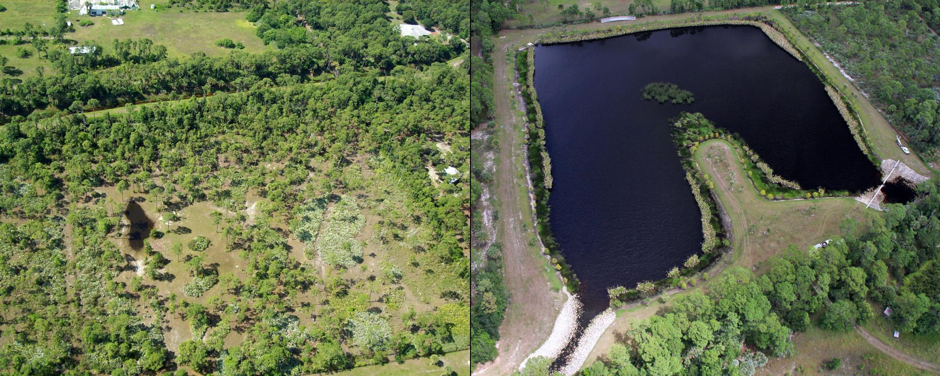 An image of the Danforth Creek project before and after