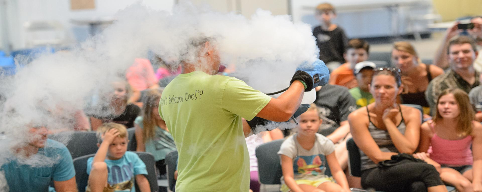 Sublimating liquid nitrogen in front of a crowd at the blake library