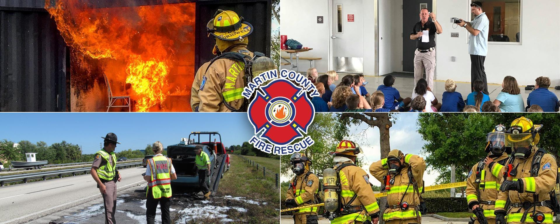 Collage of images depicting fire prevention duties
