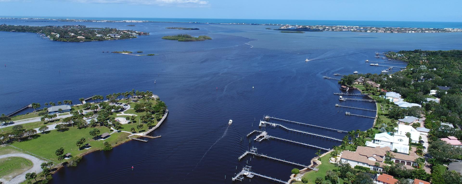 An aerial image above the Manatee Pocket