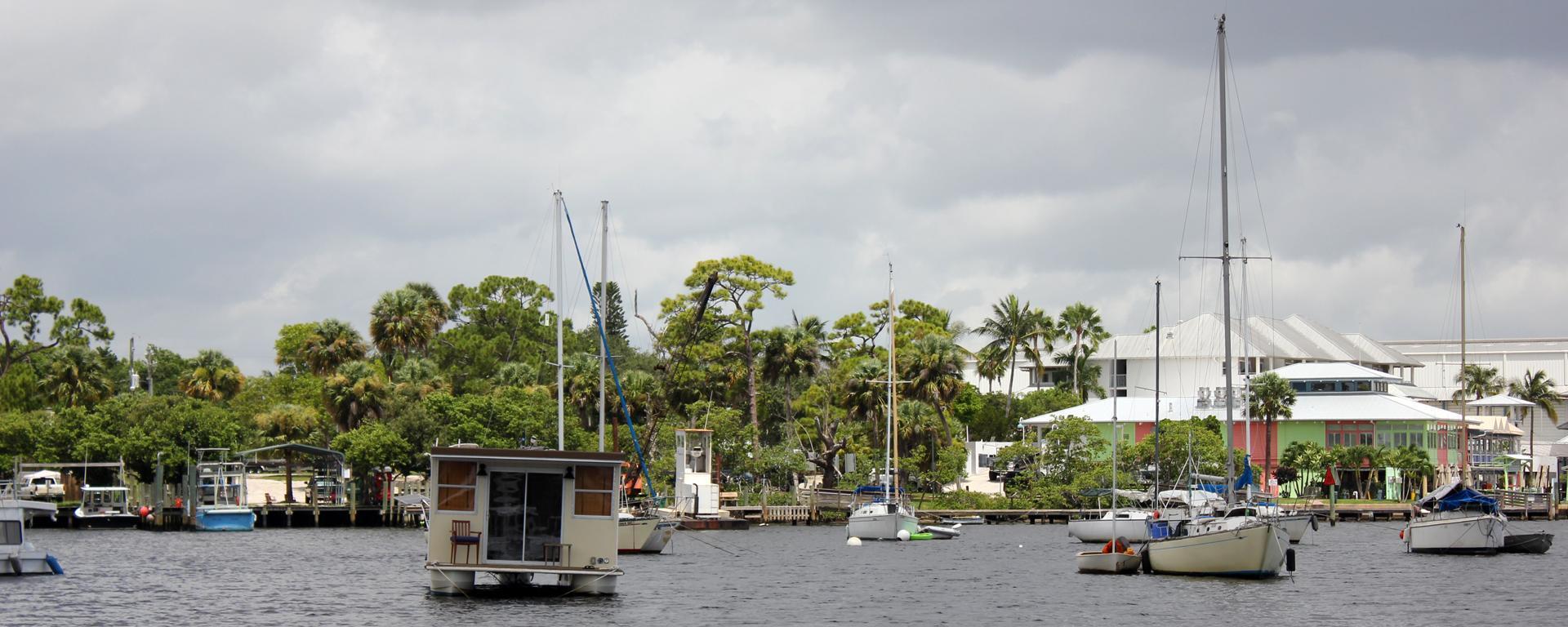 Boats anchored in the Manatee Pocket