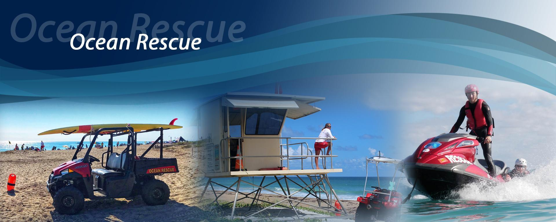 A photo collage of Martin County Ocean Rescue images and the Martin County Fire Rescue Logo