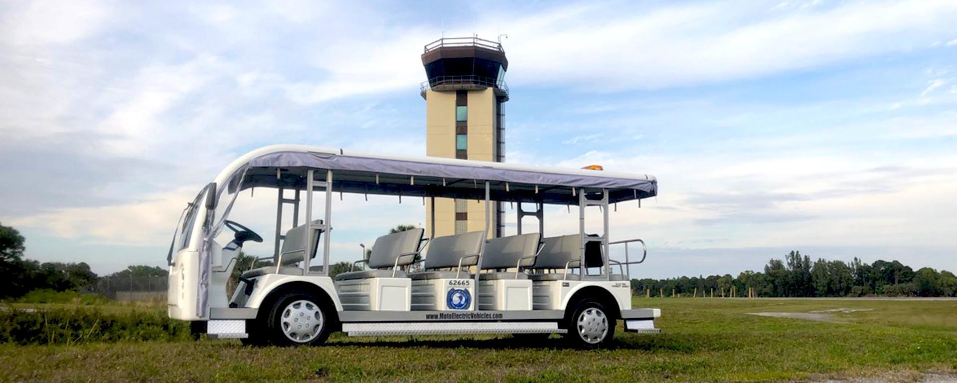 The tram parked near the flight tower at Martin County Airport