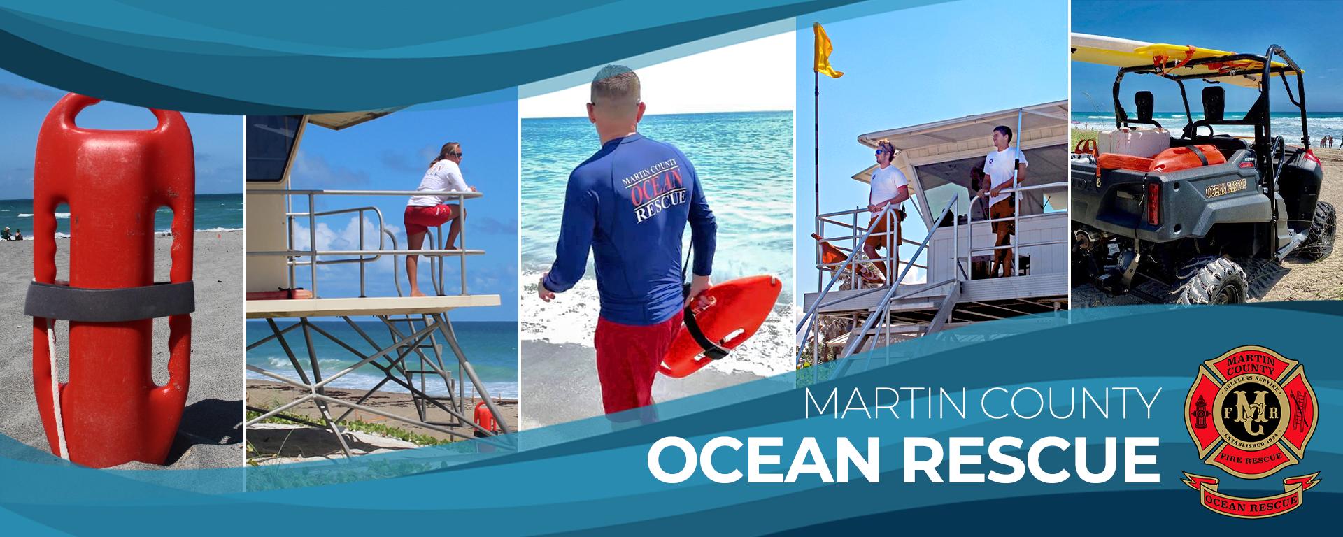 Martin County Ocean Rescue lifeguards and the Martin County Fire Rescue Logo