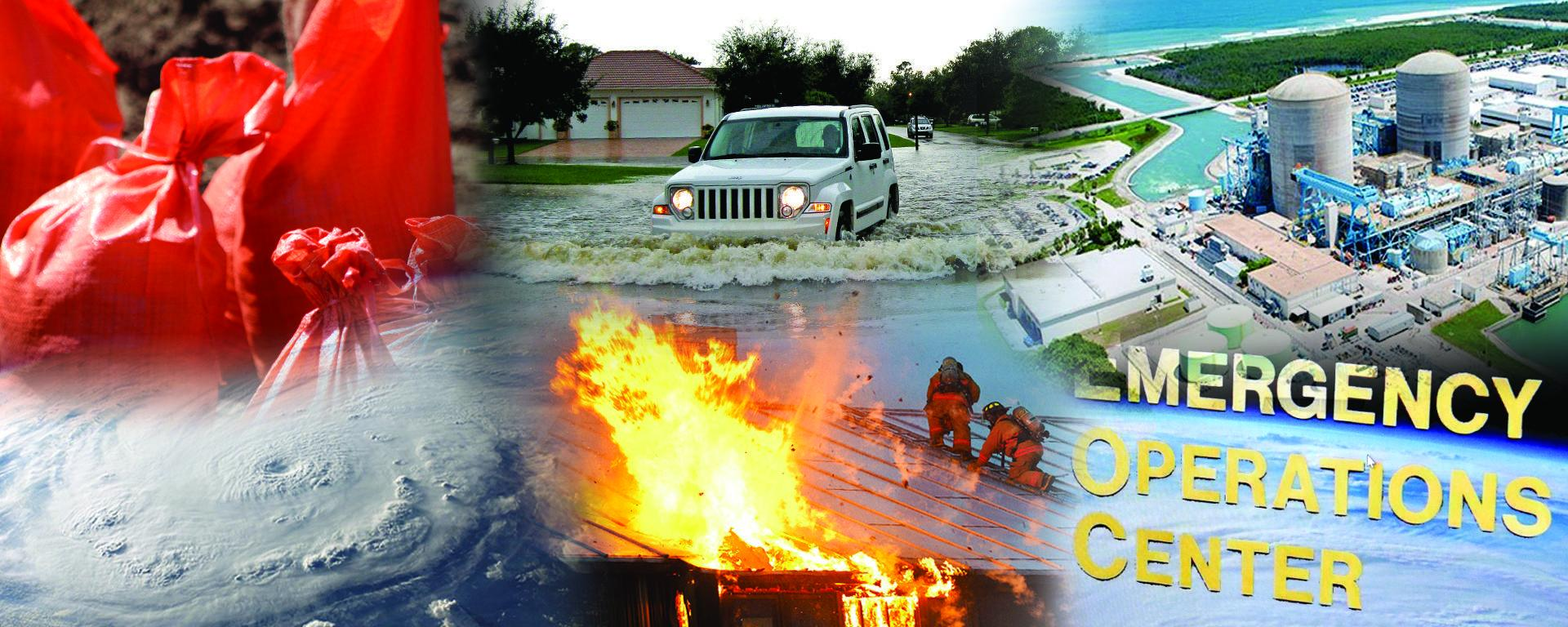 Collage consists of images of sandbags, a hurricane, residential flooding, a house fire, nuclear power plant and emergency management