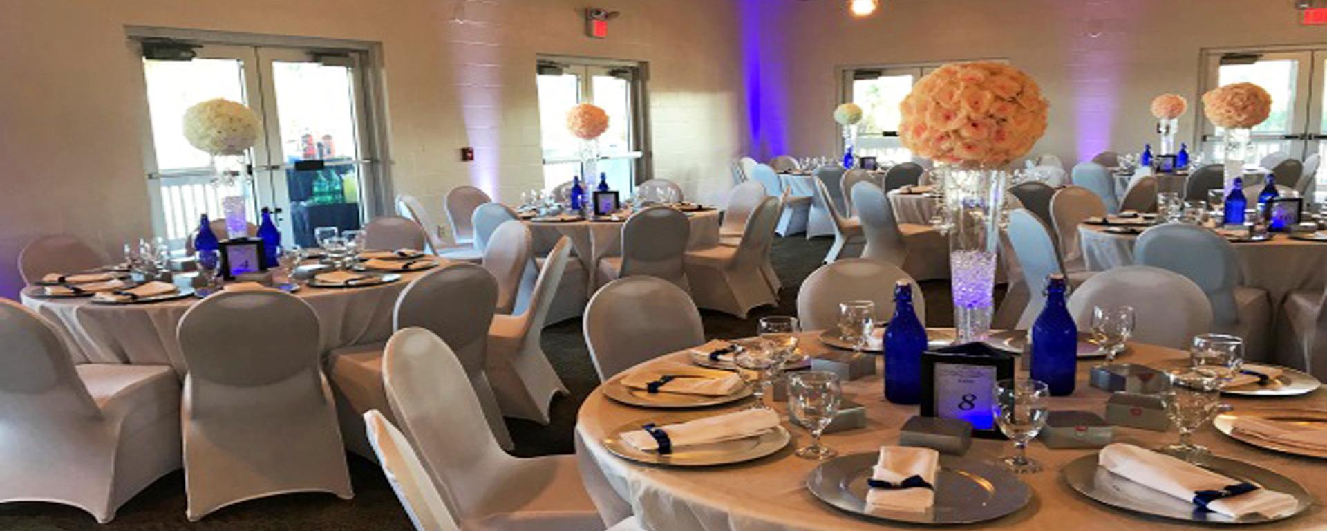 Frances Langford Dockside Pavilion indoor wedding reception set up.
