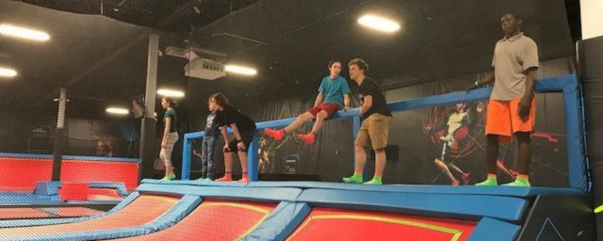 Teen event taking place at RUSH, an indoor trampoline facility in Jensen Beach.