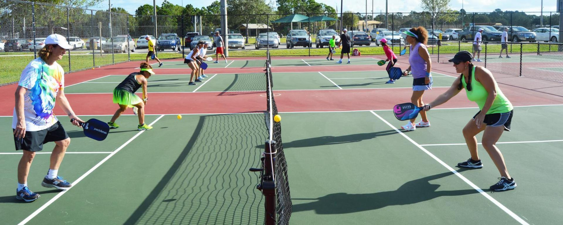 Martin County Senior Games participants playing pickleball.