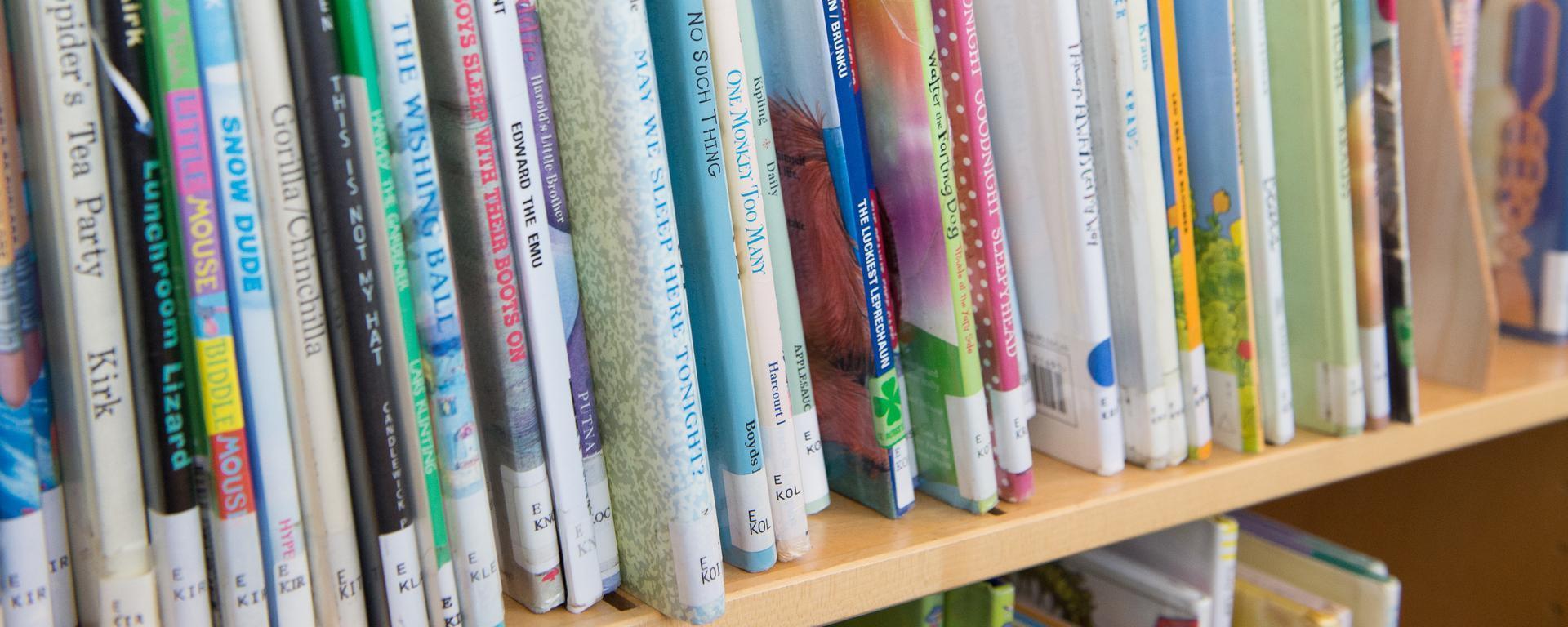 kids books on the shelf