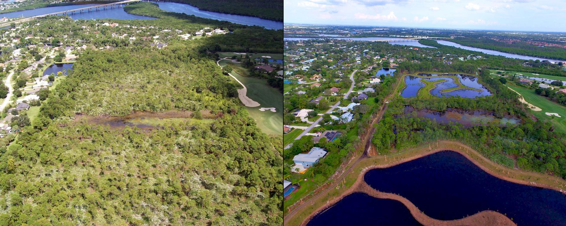 An image of the St. Lucie Shores project before and after.